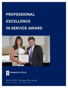 PROFESSIONAL EXCELLENCE IN SERVICE AWARD