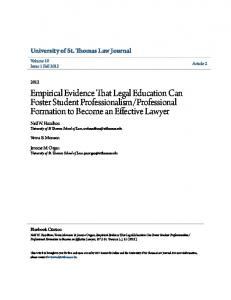 Professional Formation to Become an Effective Lawyer