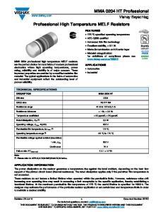 Professional High Temperature MELF Resistors