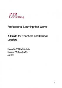 Professional Learning that Works. A Guide for Teachers and School Leaders