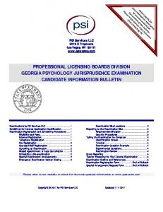 PROFESSIONAL LICENSING BOARDS DIVISION GEORGIA PSYCHOLOGY JURISPRUDENCE EXAMINATION CANDIDATE INFORMATION BULLETIN