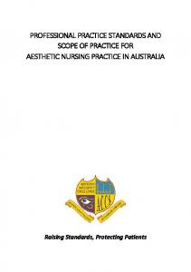 PROFESSIONAL PRACTICE STANDARDS AND SCOPE OF PRACTICE FOR AESTHETIC NURSING PRACTICE IN AUSTRALIA