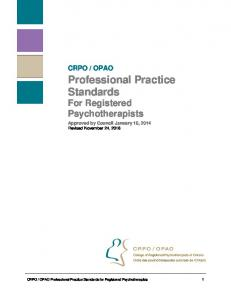 Professional Practice Standards For Registered Psychotherapists