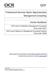Professional Services Higher Apprenticeship Management Consulting. OCR Level 4 Diploma in Management Consulting Practice
