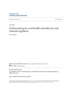 Professional sport, work health and safety law and reluctant regulators