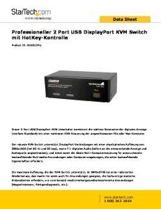 Professioneller 2 Port USB DisplayPort KVM Switch mit HotKey-Kontrolle