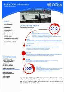 Profile OCHA in Indonesia Update: March 2012