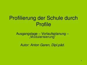 Profilierung der Schule durch Profile