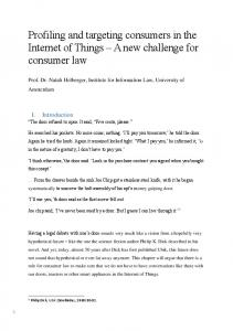 Profiling and targeting consumers in the Internet of Things A new challenge for consumer law