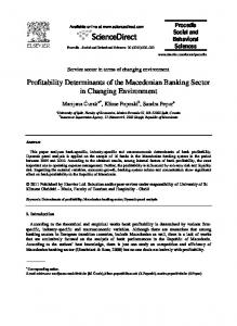 Profitability Determinants of the Macedonian Banking Sector in Changing Environment