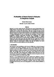 Profitability of Islamic Banks in Malaysia: An Empirical Analysis