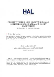 PROGENY TESTING AND SELECTING ITALIAN QUEENS FOR BROOD AREA AND HONEY PRODUCTION