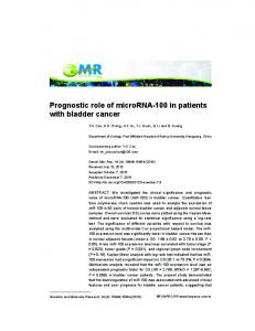 Prognostic role of microrna-100 in patients with bladder cancer