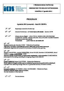 PROGRAM. 6 grudnia 2012 (czwartek) Sala KLUBOWA