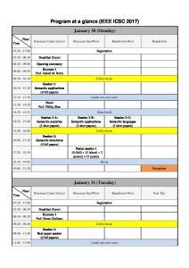 Program at a glance (IEEE ICSC 2017)