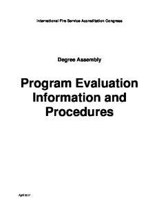 Program Evaluation Information and Procedures