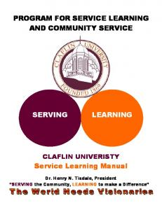 PROGRAM FOR SERVICE LEARNING AND COMMUNITY SERVICE