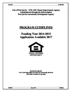 PROGRAM GUIDELINES. Funding Year Application Available 2017