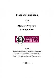 Program Handbook. Master Program Management