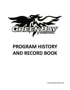 PROGRAM HISTORY AND RECORD BOOK
