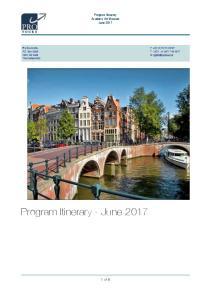 Program Itinerary - June 2017