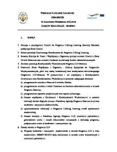 PROGRAM LIFELONG LEARNING ERASMUS