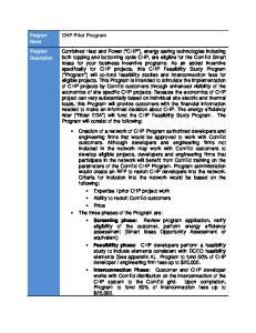 Program Name Program Description. CHP Pilot Program