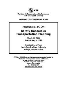 Program No. TC-29: Safety Conscious Transportation Planning