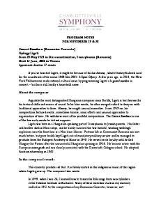PROGRAM NOTES FOR NOVEMBER 19 & 20
