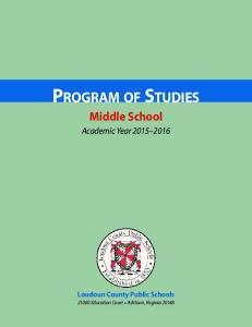 PROGRAM OF STUDIES Middle School
