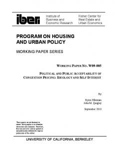 PROGRAM ON HOUSING AND URBAN POLICY