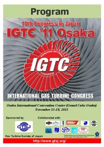 Program. Osaka International Convention Center (Grand Cube Osaka) November 13-18, Sponsored by