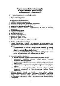 Program praktyk dla kierunku pedagogika w zakresie pedagogiki resocjalizacyjnej (studia stacjonarne i niestacjonarne)