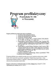 Program profilaktyczny Przedszkola Nr 186 w Warszawie