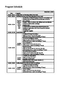Program Schedule. November 7, 2013