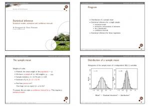 Program. Statistical inference Statistical models, estimation and confidence intervals. The sample mean. Distribution of a sample mean
