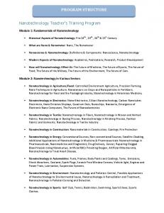 PROGRAM STRUCTURE. Nanoscience & Nanotechnology: Definitions & Components: Nanoscience, Nanotechnology