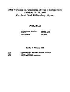 PROGRAM. Sunday 10 February 2008