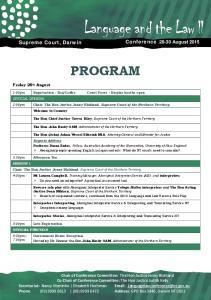 PROGRAM. Supreme Court, Darwin Conference August 2015
