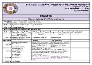 PROGRAM. Thursday September 25, 2014 (Morning Session)