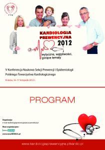 PROGRAM. V Konferencja Naukowa Sekcji Prewencji i Epidemiologii Polskiego Towarzystwa Kardiologicznego