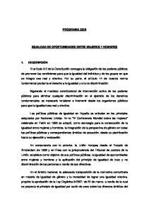 PROGRAMA 232B IGUALDAD DE OPORTUNIDADES ENTRE MUJERES Y HOMBRES