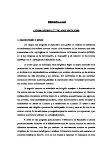 PROGRAMA 324N APOYO A OTRAS ACTIVIDADES ESCOLARES