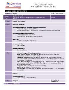 PROGRAMA AGP 30 de Septiembre a 4 de octubre, 2013