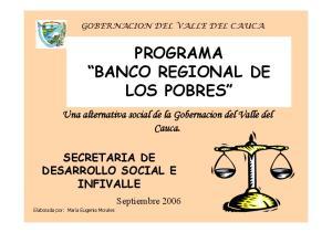 PROGRAMA BANCO REGIONAL DE LOS POBRES
