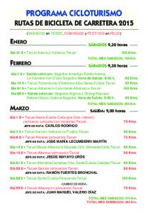 PROGRAMA CICLOTURISMO RUTAS DE BICICLETA DE CARRETERA 2015