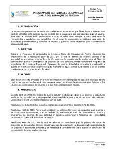 PROGRAMA DE ACTIVIDADES DE LIMPIEZA DIARIA DEL ESTANQUE DE PISCINA