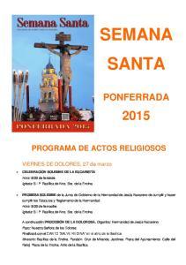 PROGRAMA DE ACTOS RELIGIOSOS