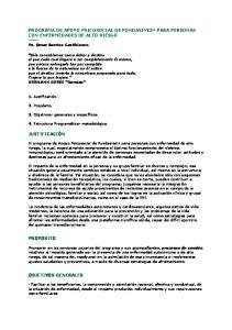 PROGRAMA DE APOYO PSICOSOCIAL DE FUNDASINEIN PARA PERSONAS CON ENFERMEDADES DE ALTO RIESGO