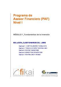 Programa de Asesor Financiero (PAF) Nivel I